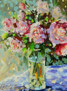 Items similar to SHABBY CHIC Roses. Art print of a Floral Still life painting. Pastel Roses. Impressionistic art. wall art, Perfect Mother's Day present on Etsy