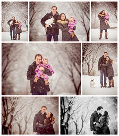 family winter holiday portrait inspiration session collage inspiration snow white playful dog baby fun outside liesl diesel photo chicago los angeles new york photographer