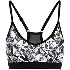 Nike Pro Indy printed stretch-jersey sports bra, Black, Women's, Size:... (65 AUD) ❤ liked on Polyvore featuring activewear, sports bras, tops, sport, underwear, sports bra, bras, yoga activewear, nike sportswear and black sports bra