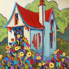 """Terwilliger Cottage,"" contemporary urban scene painting with house and its…"