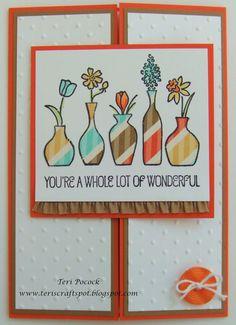 Stampin' Up! UK Demonstrator - Teri Pocock: Vivid Vases - Paper Piecing - Gate Fold Card