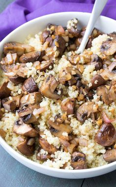 This Balsamic Garlic Roasted Mushrooms and Quinoa recipe is an easy side dish! Or add the mushrooms to pasta or quesadillas for an easy dinner!
