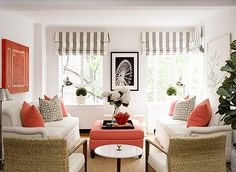 simple peach and white beachy perfection!  Clean & fresh!  Love the window shades & peach/coral color with the gray & white