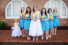 bride bridesmaids junior bridesmaid and flower girl malibu blue yellow coral