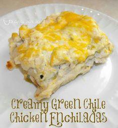 :-D Green Chicken Enchilada Casserole, Green Chili Enchiladas, Green Chicken Enchiladas, Mexican Enchiladas, Peach Enchiladas, Cream Cheese Enchiladas, Enchiladas Healthy, Taco Casserole, Beef Enchiladas