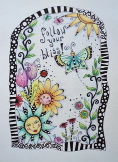 Colored pencil drawing, zentangles, original drawing, pen and colored pencil