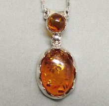Vintage Sterling Silver and Amber Necklace from Poland