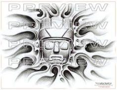amazing warrior stone face tattoo design
