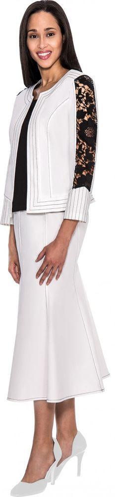 Soft Stretch Denim Casual Elegant Black White Skirt Suit Church or Work Dress  #DivineSport #SkirtSuit #WeartoWork