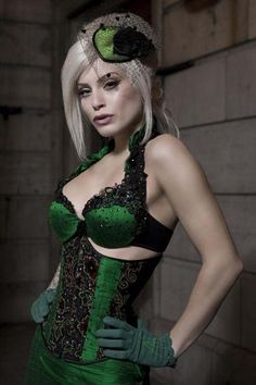 Striking green in lingerie and underbust corset. Beautiful!