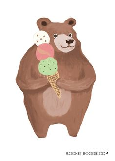 This is an art print of a bear holding an ice cream cone, hand painted by Rocket Boogie Co. This art print will be printed in a professional eco-friendly print lab on high quality, fade-resistant paper with archival inks. Your fine art print will be un-matted and un-framed, packaged with care.   SIZES AVAILABLE: 5x7, 8x10, 11x14 (please select from drop down menu)  >>Please allow 3-5 business days after payment for picture to be shipped, as this item is made to order. Tracking is includ... Bear Art, Lab, Eco Friendly, Fine Art Prints, Cool Designs, Menu, Ice Cream, Room Decor, Hand Painted