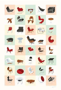 Mid century furniture shapes