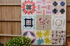 Sampler quilt made from cotton and steel fabrics