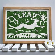 Leaping Rabbit Fine Art Print. $32 by Alexandra Snowdon