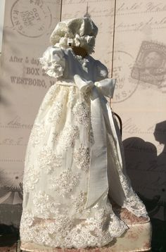 Claudette //Christening lace and silk gown by ElenaCollectionUSA