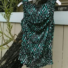 INC International SCOOPED NECK SHELL Aqua, black and white patterned, sleeveless shell with scooped neck, a twist detail at the shoulder.  Fitted waist.  White insert added to augment detail.  Plenty of give.  Rayon INC International Concepts Tops Blouses