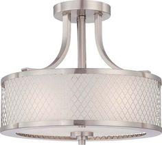 View the Nuvo Lighting 60/4692 Fusion Three Light Semi-Flush Ceiling Fixture with Frosted Glass, in Brushed Nickel Finish at LightingDirect.com. - craft room