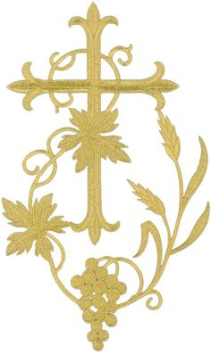 Fleur Cross W/Grapevine-Vestment-Embroidered Gold Metallic Iron On Applique in Crafts, Sewing, Embellishments & Finishes, Patches Gold Embroidery, Machine Embroidery, Embroidery Designs, Custom Embroidered Patches, Embroidered Badges, Nativity Star, Première Communion, Altar Cloth, Bead Sewing