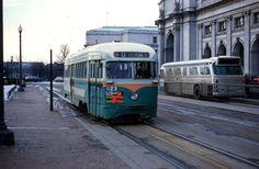 DC Transit PCC at Union Station (~1960) (Old Time DC).