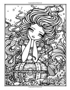 Hannah Lynn Mermaid Myth Mythical Mystical Legend Mermaids Siren Fantasy Mermaids Ocean Sea Enchantment Sirens Meerjungfrau sirène sirena Русалка pannu havfrue zeemeermin merenneito syrenka sereia sjöjungfrun sellő Coloring pages printable colouring adult detailed advanced printable Kleuren voor volwassenen coloriage pour adulte anti-stress kleurplaat voor volwassenen Line Art Black and White