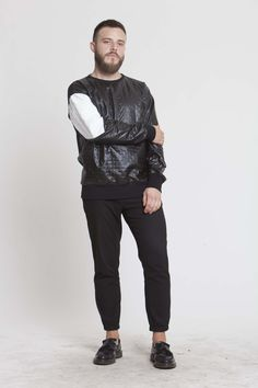 Faux leather sweatshirt. Conspiracy collection on www.individuell.it/shop