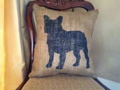 Burlap Pillow  French Bulldog Burlap Pillow  by TwoPeachesDesign, $28.00 #frenchie #frenchbulldog #doglovers