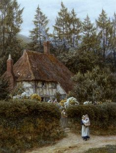 A Cottage Near Haslemere Art Print by Helen Allingham - WorldGallery.co.uk