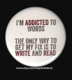 Button Addicted To Words van kohaku16 op Etsy