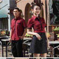 summer hotel restaurant waiter short sleeve shirt - UniformSELL Staff Uniforms, Work Uniforms, Waiter Uniform, Shirt Jacket, Leather Skirt, Retail, Sleeve, Skirts, Summer