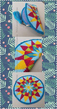 handmade mochila wayuu  crochetbag Crochet Cord, Crochet Pouch, Crochet Purses, Love Crochet, Boho Tapestry, Tapestry Bag, Tapestry Crochet, Knitting Designs, Crochet Designs