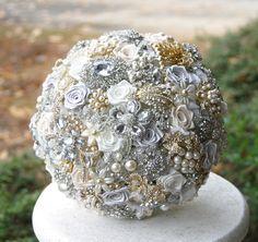 Gold platinum brooch bouquet and boutonniereCustom by annasinclair, $455.00