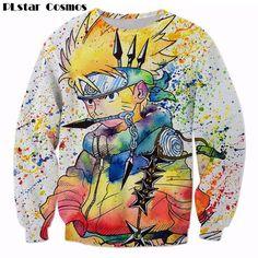 PLstar Cosmos Rainbow Paint Naruto 3D Sweatshirt Mens Ninja Anime Pullovers Harajuku Hip Hop Outerwear Galaxy Sweatshirts tops
