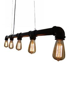 """Industrial Pipe 5 Bulb Pendant Light Black Finish Measures 43 inches wide Height is adjustable up to 4 Feet (Wire is included for hanging) Includes Black 5"""" Ceiling Plate Shown with 40W Edison Bulbs -"""