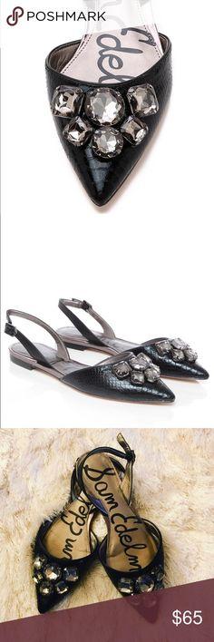 Sam edelman embellished pointed flats Used good condition, black color slingbacks Sam Edelman Shoes Flats & Loafers