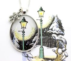Narnia 'The Lamp Post' Winter Wonderland Book Page Illustration Necklace Narnia Lamp Post, Movie Crafts, Chronicles Of Narnia, Diamond Are A Girls Best Friend, True Beauty, Pretty Outfits, Winter Wonderland, How To Look Better, Give It To Me