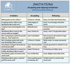 Accepting And Refusing Invitations Lesson Plan English Phrases, English Words, English Grammar, English Resources, English Lessons, English Class, Grammar And Vocabulary, English Vocabulary, English Language Learning