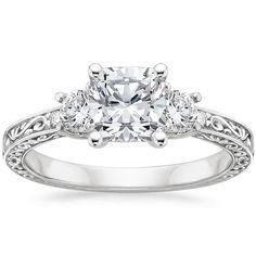 Cushion Cut Antique Scroll Three Stone Trellis Diamond Engagement Ring - 18K White Gold