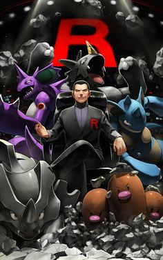 Giovanni with Nidoking, Rhydon, Nidoqueen, Dugtrio, and Rhyhorn by Sires R Black