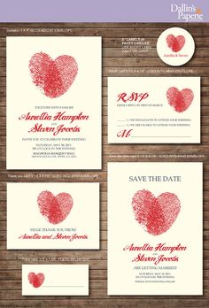 FInger print Heart Wedding Invitation printables by DallinsPaperie