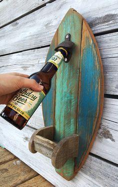 Surfboard Wood Bottle Opener with Fin Cap Catcher Rustic Reclaimed Wood Kitchen Tiki Bar Decor, Custom Color Options Surf Board Holz Flaschenöffner mit Fin Cap von EcoArtWoodDesign Reclaimed Wood Kitchen, Reclaimed Wood Projects, Diy Wood Projects, Wood Crafts, Rustic Wood, Rustic Cafe, Rustic Office, Rustic Bench, Pallet Crafts