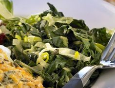 Steamed Greens with Caramelized Leeks:  Make this dish at the start of the evening, and leave it in the pan to be reheated when you're ready to eat.