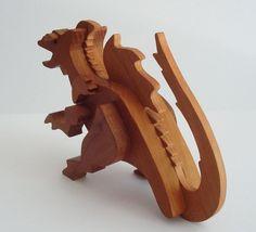 Waldorf Toy Dragon Wood Cherry Hand Cut Scroll Saw