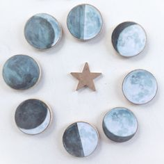 moon magnets, moon phase wood magnets, la luna, supermoon, regrigerator magnets, housewarming gift