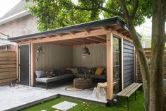 Outdoor backyard - incredible backyard storage shed design and decor ideas page 32 Backyard Storage Sheds, Backyard Sheds, Backyard Patio Designs, Shed Storage, Pergola Patio, Backyard Landscaping, Patio Ideas, Diy Patio, Bike Storage
