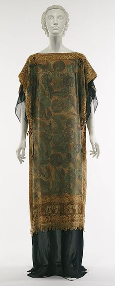 1920s Ensemble by Raymond Duncan (brother of Isadora), American: Tussah silk with polychrome hand-painted vegetal motif, navy blue silk chiffon.