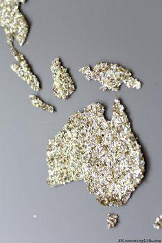 DIY World Map Glitter Art   ~:: A Blossoming Life