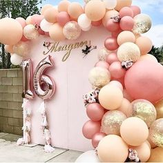 Darling sweet 16 backdrop! By @glowconceptsfinelinens @balloonandribbons #backdrop #balloons #decorideas #partyideas #partyplanner #sweet16…