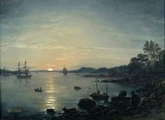 "Johan Christian Claussen Dahl (Norwegian, 1788-1857), ""Fjord på Holmestrand/The Fjord at Holmestrand"" (1843) Oil on canvas, 38 x 52.5 cm Berlin, Alte Nationalgalerie"