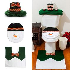 >> Click to Buy << Top Grand 3Pc Christmas Snowman Toilet Seat Cover + Rug Bathroom Mat Set Christmas Decorations #Affiliate