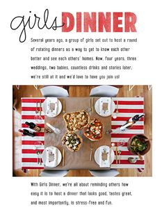 rotating dinners as a way to get to know each other...LOVE this!
